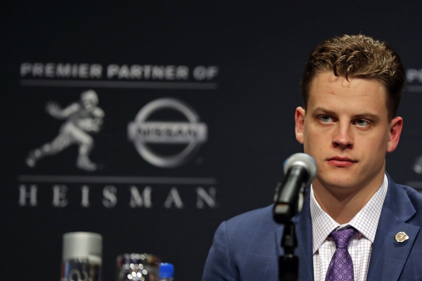 Joe Burrow, the quarterback who led LSU to a 13-0 record and a spot in the College Football Playoff, won the Heisman Trophy on Saturday.