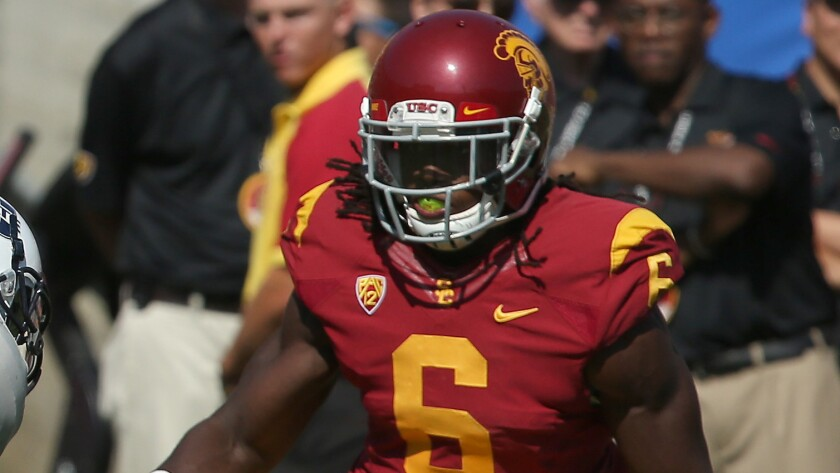 USC defensive back Josh Shaw runs on the field during a game against Utah State in 2013.