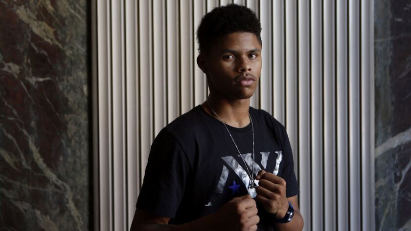 LOS ANGELES, CA APRIL 18, 2017: Portrait of boxer Shakur Stevenson at the Los Angeles Times in Los