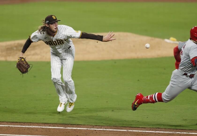 Matt Strahm of the San Diego Padres throws out Kolten Wong of the St. Louis Cardinals