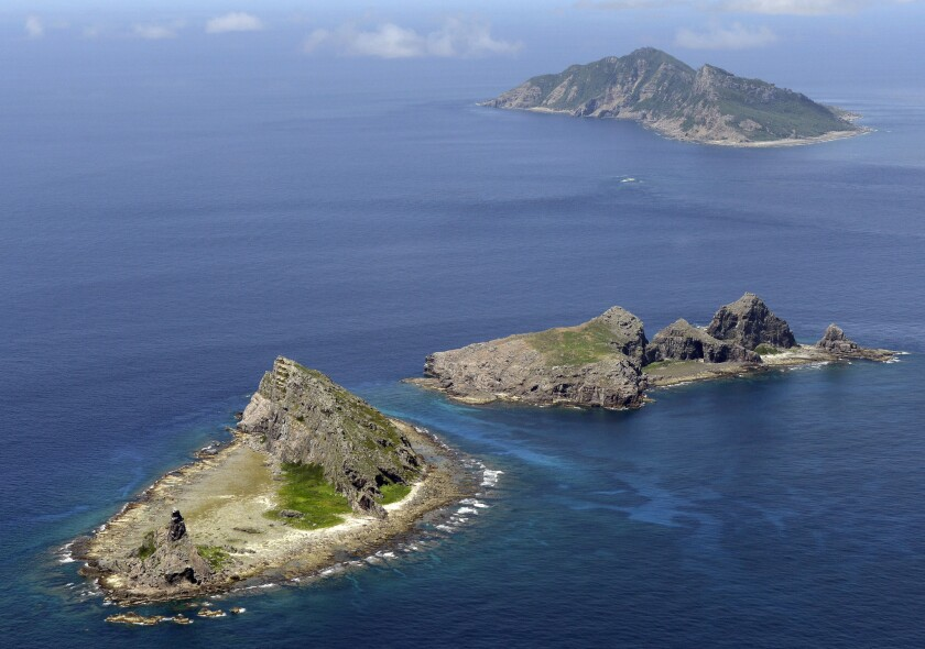 The islands in the East China Sea, called Senkaku in Japanese and Diaoyu in Chinese, are seen.