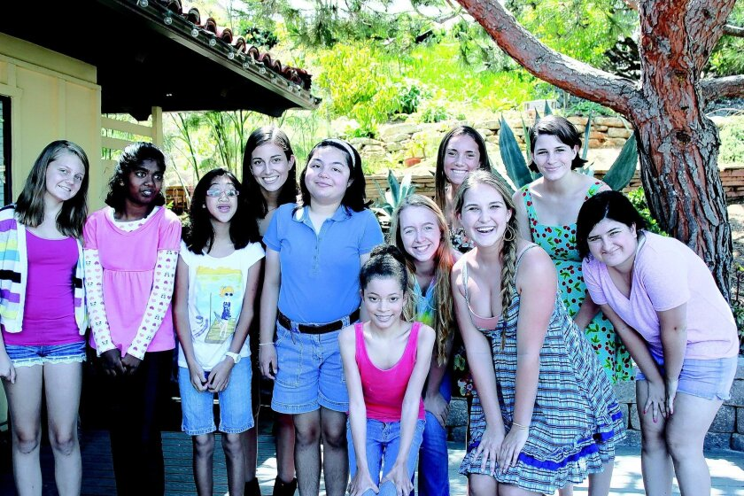 Isabelle Kaplan, third from right, with students and volunteers at the 2013 Art for Autism Summer Camp in Solana Beach. CREDIT: Isabelle Kaplan