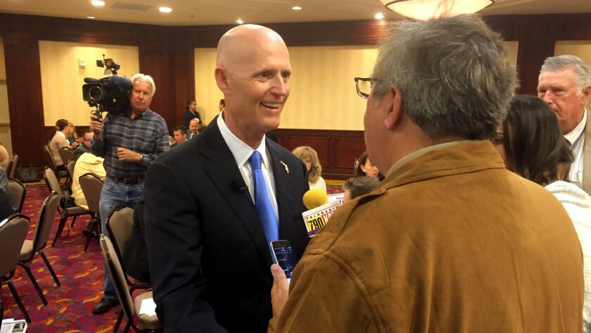 Florida Gov. Rick Scott is interviewed at the Valley Industry & Commerce Assn. luncheon on Monday in Woodland Hills.