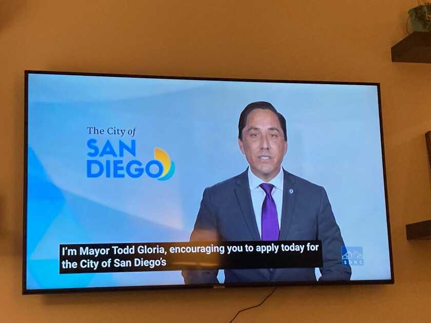 San Diego Mayor Todd Gloria on TV.