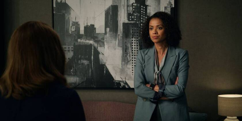 """Gugu Mbatha-Raw as cutthroat booker Hannah Shoenfeld in the season finale of """"The Morning Show."""""""