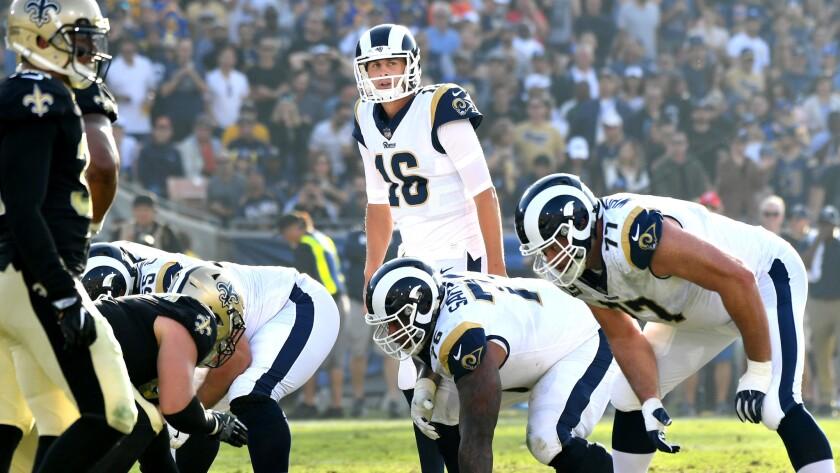 LOS ANGELES, CALIFORNIA NOVEMBER 26, 2017-Rams quarterback Jared Goff calls a play at scrimage line
