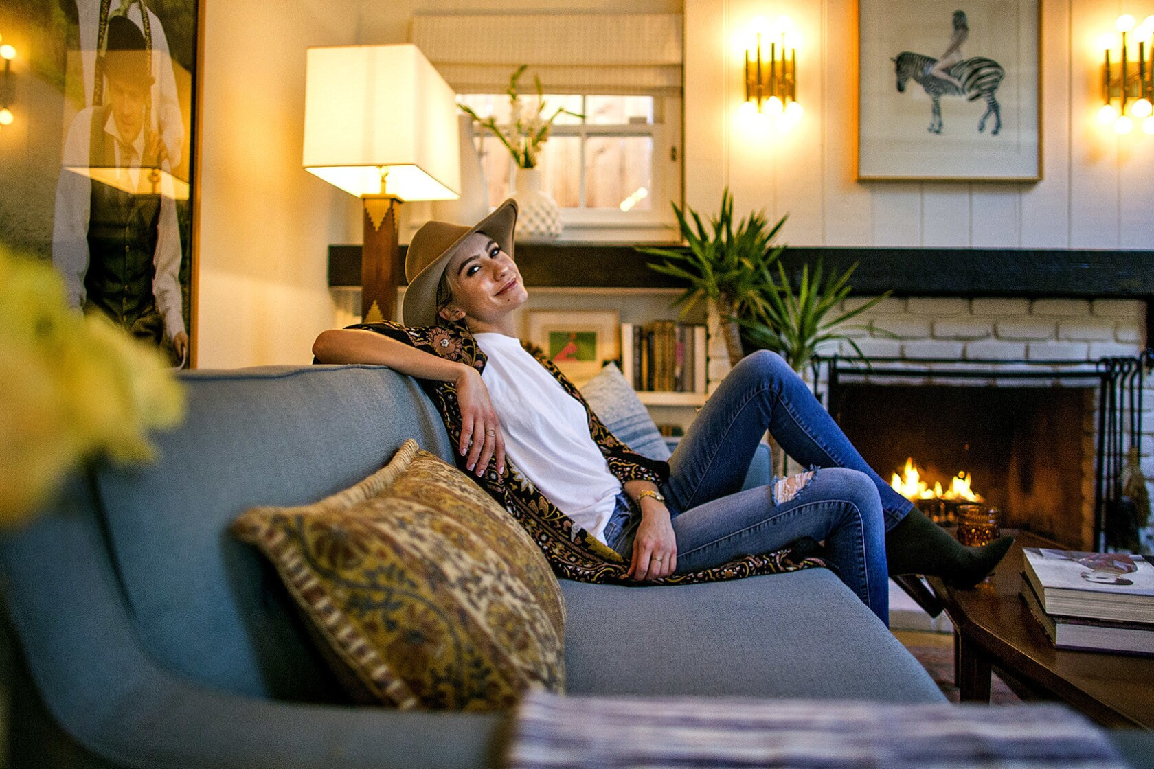 My Favorite Room Chelsea Kane Keeps Her Family Close With A Nostalgia Laden Living Room Los Angeles Times
