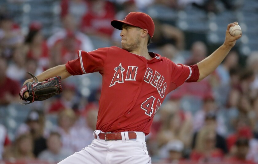 Tyler Skaggs gave up one run on five hits over 5 2/3 innings with five strike outs and one walk against the Tigers on July 25, 2014 at Angel Stadium.