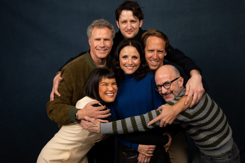 Zoe Chao, clockwise from bottom left, Will Ferrell, Zach Woods, directors Nat Faxon and Jim Rash, and Julia Louis-Dreyfus of 'Downhill' at the Sundance Film Festival.
