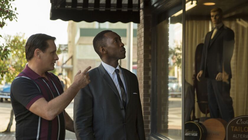 "(L-R) - Viggo Mortensen as Tony Vallelonga and Mahershala Ali as Dr. Donald Shirley in ""Green Book,"""