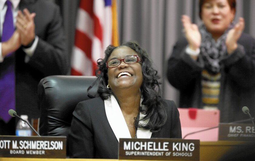 Michelle King is introduced Tuesday as she presides over the Los Angeles Unified School Board meeting as the new superintendent.