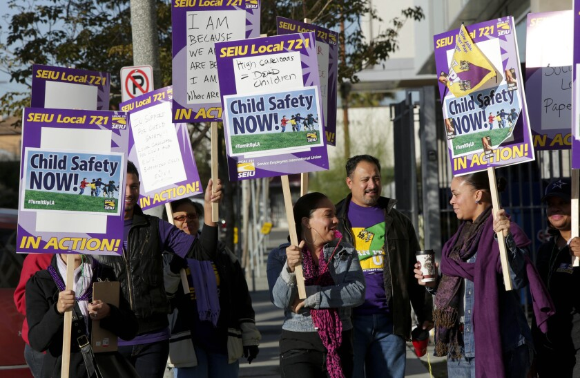 LA County's children's social workers, represented by Local 721 of the Service Employees International Union, went on strike Thursday in an attempt to get lower caseloads. This is the social workers' first strike in more than a decade.