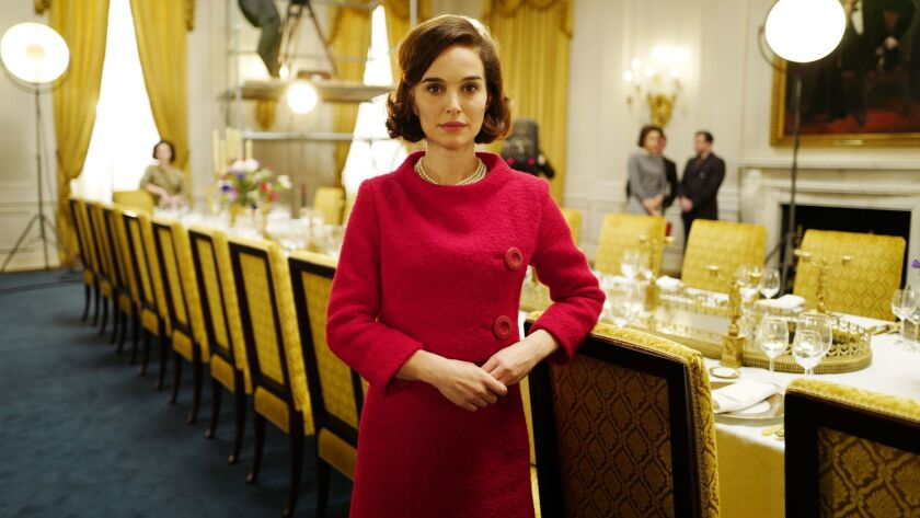 "Natalie Portman on the set of ""Jackie."""