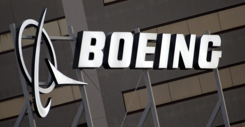 FILE - In this Jan. 25, 2011, file photo, is the Boeing Company logo on the property in El Segundo, Calif. Chicago-based aerospace giant Boeing Co. will invest $200 million to manufacture the U.S. Navy's latest unmanned aircraft at MidAmerica St. Louis Airport. A news release provided to The Associated Press in advance indicates that state and company officials plan a Friday afternoon, Sept. 17, 2021 announcement at the airfield in Mascoutah, southeast of St. Louis. (AP Photo/Reed Saxon, File)