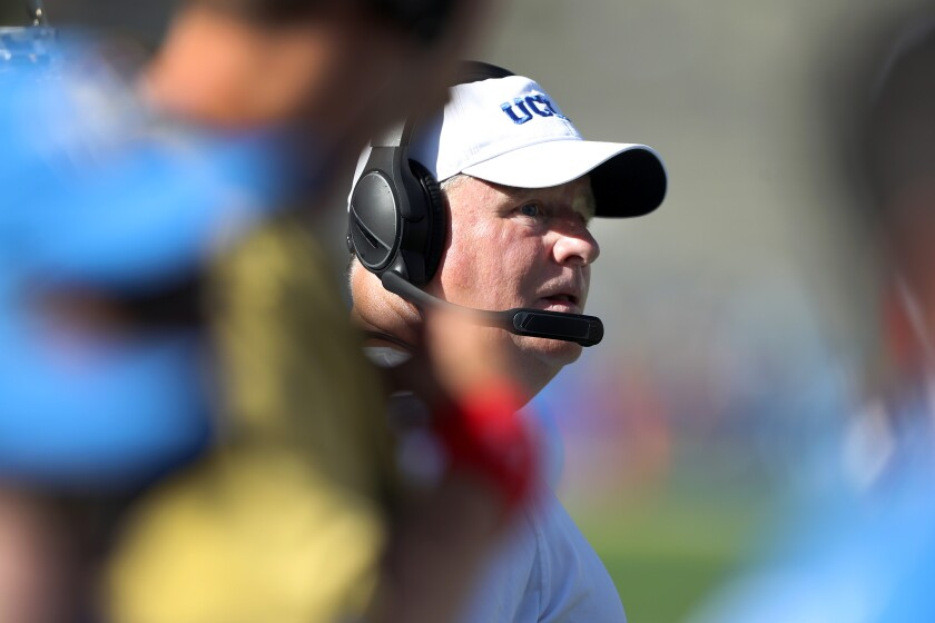 UCLA coach Chip Kelly looks on during the Bruins' loss to San Diego State on Saturday.