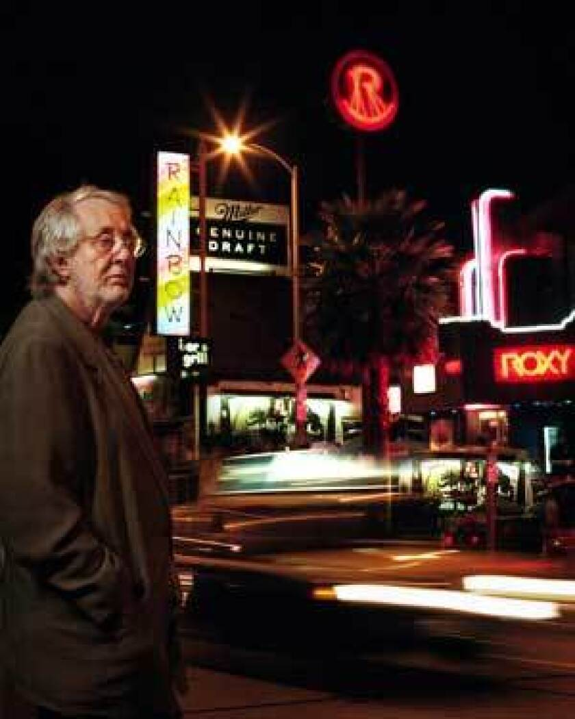 Elmer Valentine on the Sunset Strip in 2000 across from two other establishments he helped start: the Rainbow Bar & Grill and Roxy Theatre.