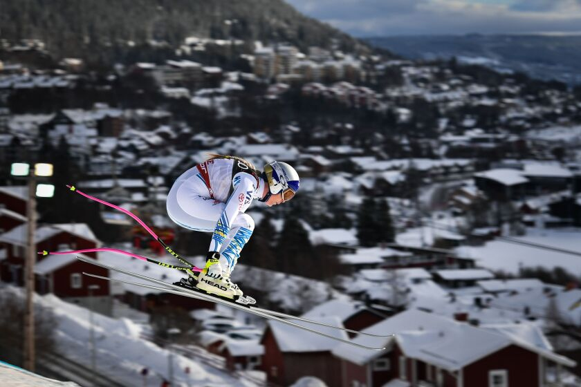 Lindsey Vonn competes during the Women's Downhill event of the 2019 FIS Alpine Ski World Championships in Sweden on Feb. 10.