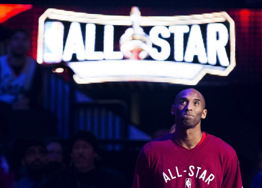 Western Conference's Kobe Bryant, of the Los Angeles Lakers, is introduced before the first half of the NBA all-star basketball game, Sunday, Feb. 14, 2016 in Toronto. (Mark Blinch/The Canadian Press via AP) MANDATORY CREDIT