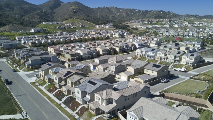 Photos of the new Harmony Grove Village west of Escondido. Two other large housing developments that would be built to the north and south of this project are now on hold after a judge's ruling.