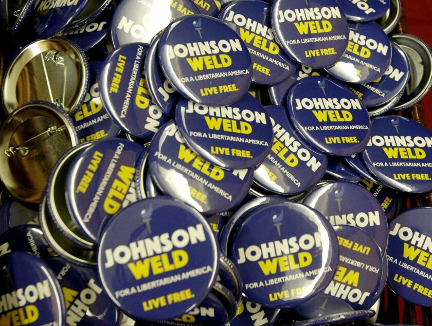 Campaign buttons for Libertarian presidential candidate Gary Johnson and vice presidential candidate WilliamWeld.