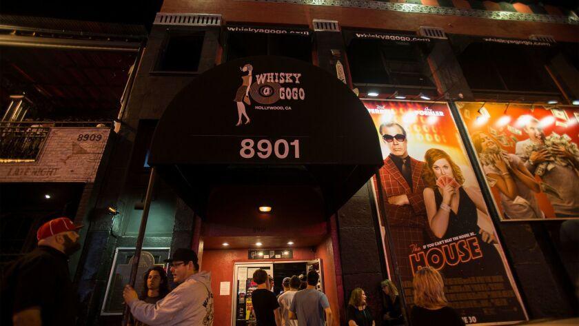 The Whisky a Go Go is a popular music venue on Sunset Boulevard.