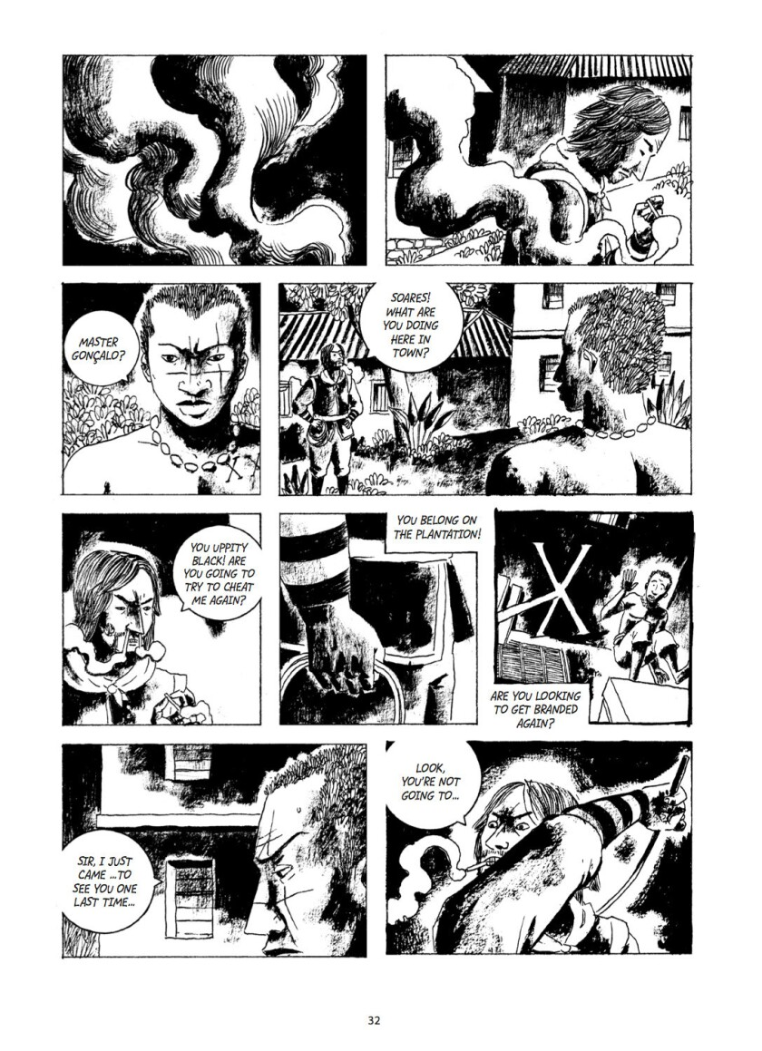 "A page of illustrations from Marcelo D'Salete's graphic novel ""Angola Janga: Kingdom of Runaway Slav"