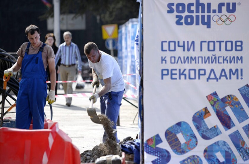 Construction crews are pushing to finish work for the 2014 Winter Olympics in Sochi, Russia.