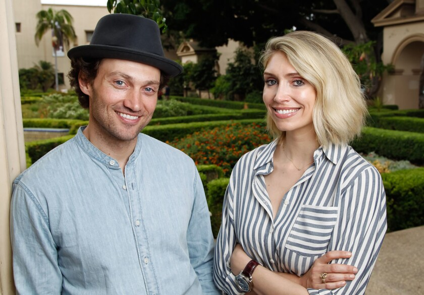 "SAN DIEGO, CA August 23rd, 2017 | Writer Kirsten Guenther (right) and actor Bryce Pinkham pose for photos after a rehearsal of ""Benny & Joon"" in Balboa Park on Wednesday in San Diego, California. 