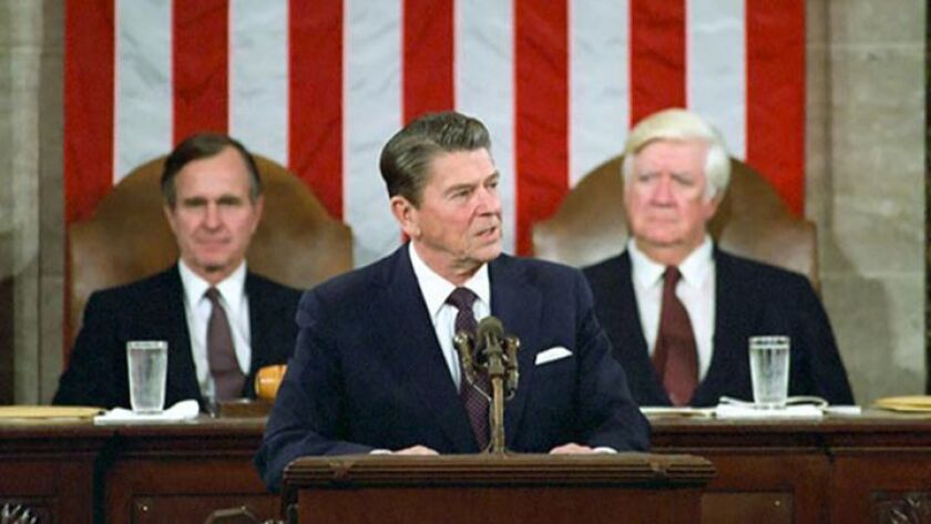 President Reagan addresses a joint session of Congress on a program for economic recovery.