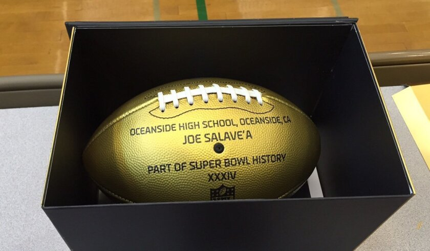 Oceanside alum Joe Salave'a earned a Golden Football in Super Bowl XXXIV with the Titans.
