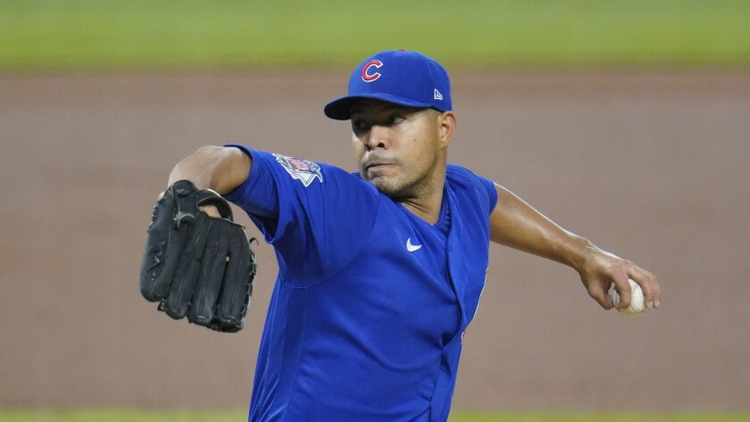 Left-hander Jose Quintana winds up for a pitch.