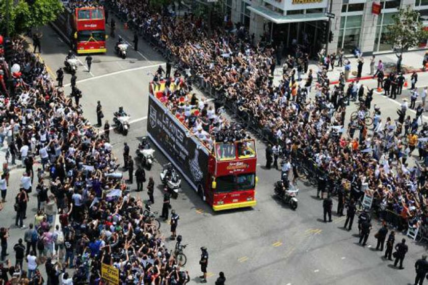 The Kings victory parade travels down Figueroa Street