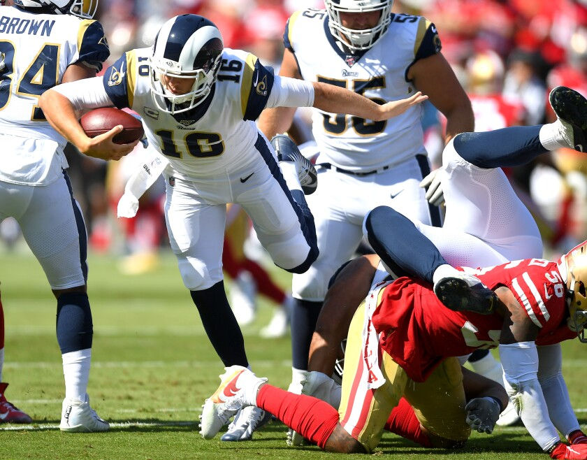 The 49ers defense kept Rams quarterback Jared Goff (16) off balance in their October game.