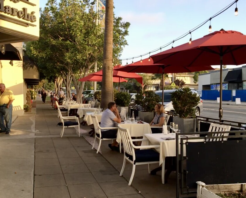Bistro du Marché in The Village has expanded its sidewalk seating.