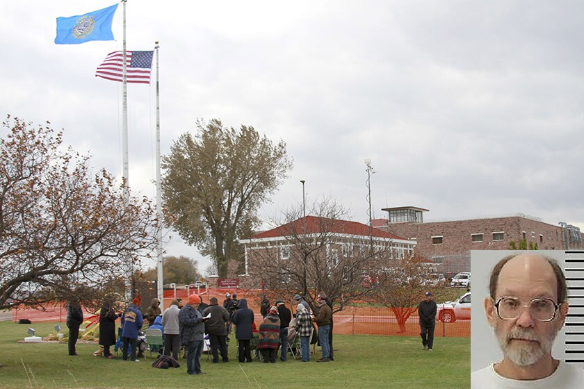 Protesters opposed to the death penalty pray and sing outside South Dakota State Penitentiary in Sioux Falls before the execution of Charles Rhines, inset, on Monday.