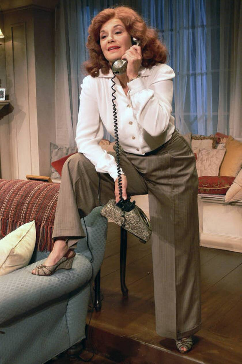 """Stephanie Zimbalist as Katharine Hepburn in """"Tea at Five"""" at the Falcon Theatre in Burbank."""