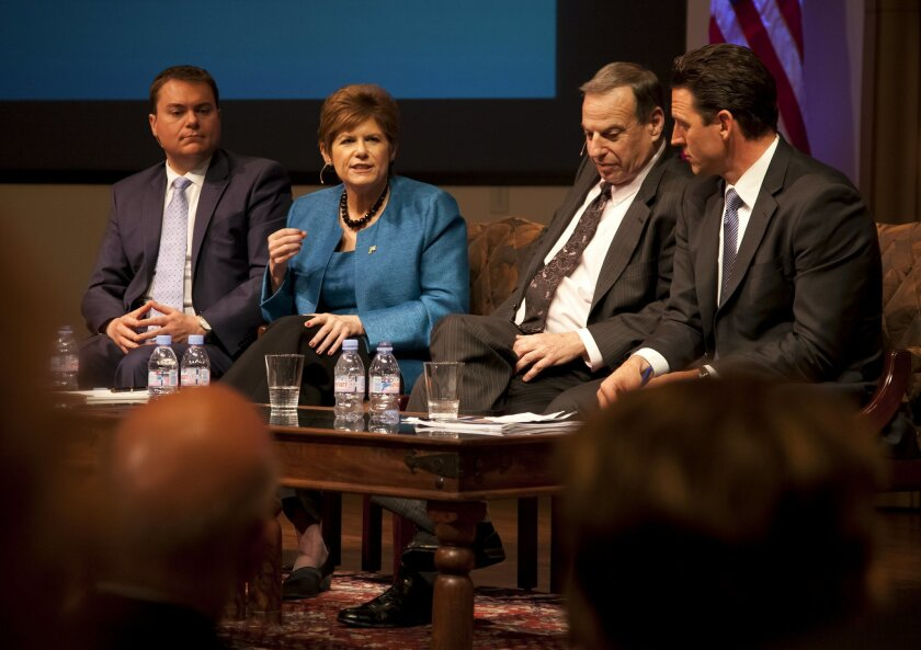 Mayoral candidates Carl DeMaio, Bonnie Dumanis, Bob Filner and Nathan Fletcher discuss education issues at an April 3 debate at the University of San Diego.