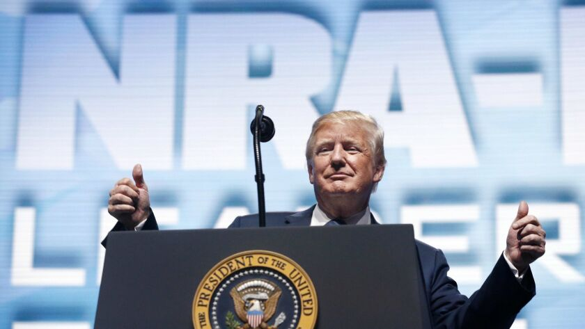 President Trump addresses the NRA Annual Meeting in Dallas on May 4.