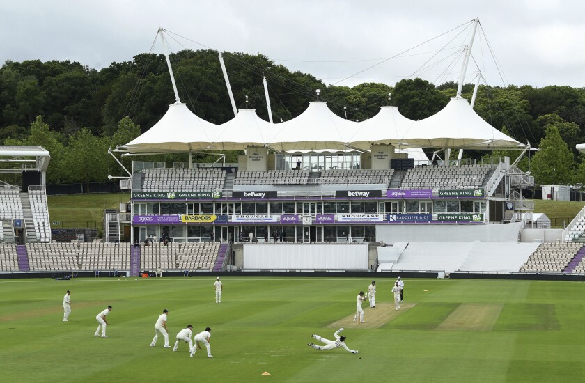 A general view as the first ball is bowled during day one of a Warm Up match by England, at the Ageas Bowl in Southampton, England, Wednesday July, 2020. England are scheduled to play West Indies in their first international Test match on July 8-12. (Agency Pool via AP)