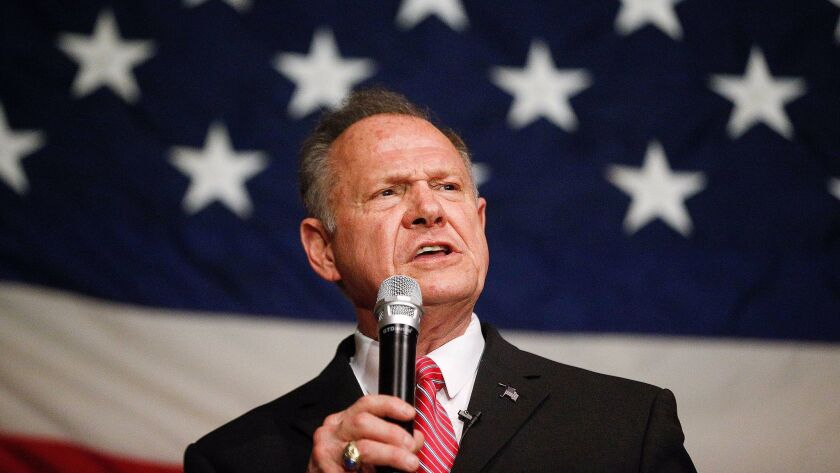 Former Alabama Chief Justice and U.S. Senate candidate Roy Moore speaks at a campaign rally in Fairhope Ala. on Dec. 5.