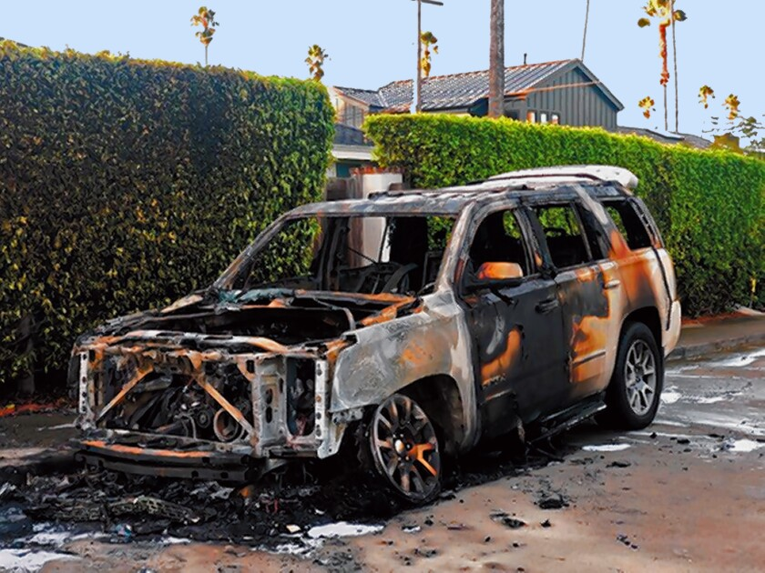 "CAR FIRE: ""Police responded to this incident at 4:10 a.m. Sunday, Dec. 1 on the 300 block of Mira Monte in La Jolla. According to notes on the event, it didn't appear to be an arson and is being looked at as an accident,"" Officer Billy Hernandez told La Jolla Light."