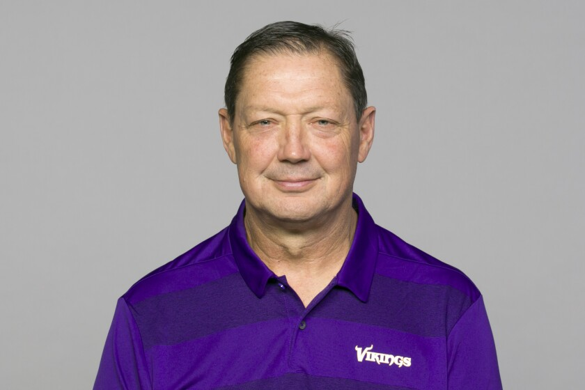FILE - This is a 2019 photo of Rick Dennison of the Minnesota Vikings NFL football team. The Vikings and Dennison have found a solution for him to remain with the club despite his unvaccinated status. The 63-year-old Dennison will take a role as senior offensive advisor. He'll do all of his collaboration with the staff virtually. (AP Photo/ File)