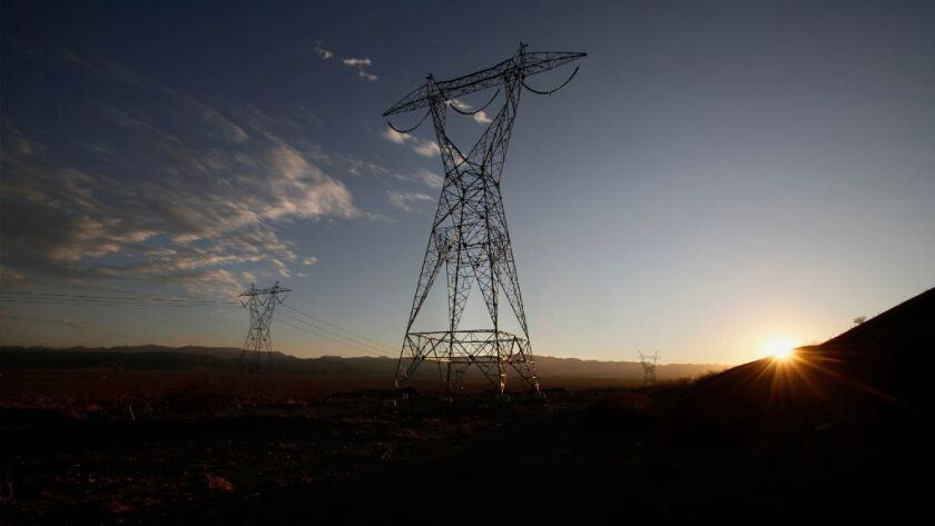 San Diego Gas & Electric's 117-mile Sunrise Powerlink transmission line runs through California's Imperial County, toward San Diego County, near the U.S.-Mexico border.