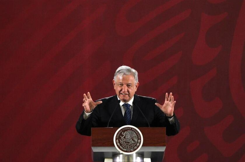 Mexican President Andres Manuel Lopez Obrador speaks on March 19, 2019, at his daily press conference at the National Palace in Mexico City, Mexico. Lopez Obrador defended the decision to allow just a handful of foreign companies to bid on construction of a new oil refinery, saying they are the ones best qualified to complete the project. EPA-EFE/Mario Guzman