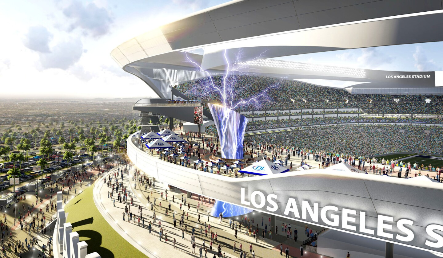 A new rendering of the proposed stadium in Carson shows a 120-foot-tall tower with a cauldron. When the Chargers score, lightning bolts will flash around the cauldron. A flame will burn in the cauldron in honor of legendary team owner Al Davis during Raiders games.