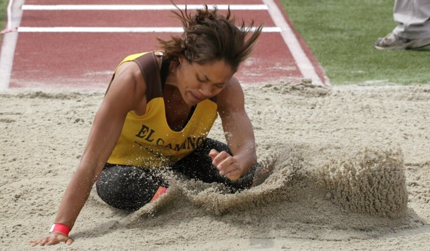 Miche Scott of El Camino leads the long jump with a mark of 19 feet, 9 1/2 inches.