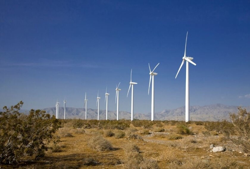 Developers of the Tule Wind Project in San Diego's East County expect to start construction in a matter of weeks. Pictured is the Dillon Wind Power Project, a 45-megawatt in Riverside County, operated by Avangrid Renewables, which will run the Tule project.