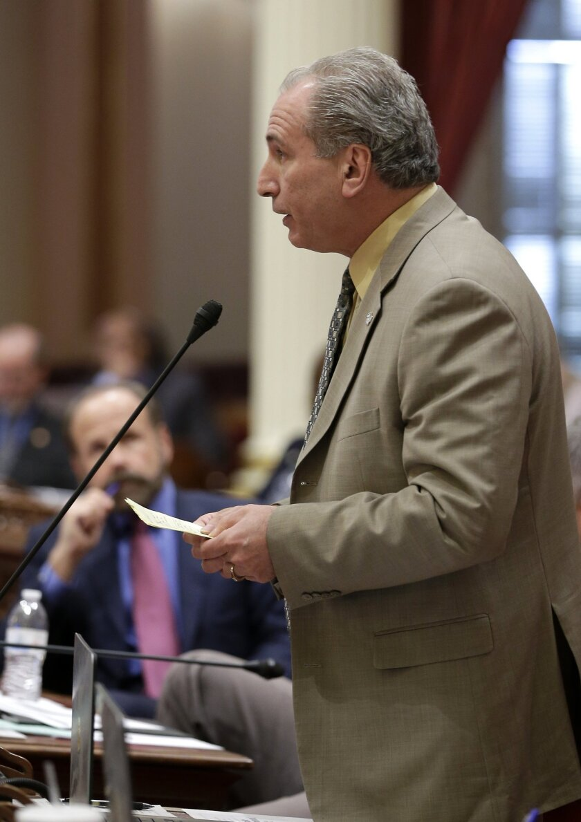 State Sen. Jeff Stone (R-Temecula), shown on the Senate floor in June, sponsored the measure that passed both houses of the Legislature unanimously urging University of California campuses to condemn anti-Semitism.