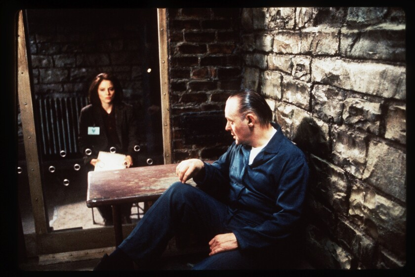 "Jodie Foster and Anthony Hopkins in ""The Silence of the Lambs"" (1991)."