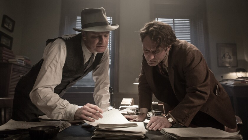 "Colin Firth, left, as Maxwell Perkins and Jude Law as Thomas Wolfe in ""Genius."""